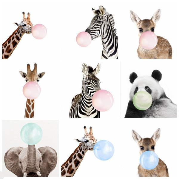 Christmas Paintings For Kids.2019 Painting Bubble Gum Animal Paintings Funny Balloon Giraffe Panda Posters Kids Room Wall Picture Christmas Nursery Decor 21 Designs Yw1572 From