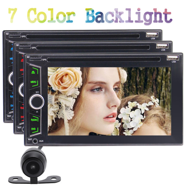 6.2'' Double 2 Din In Dash Autoradio Car DVD Player Audio USB SD Bluetooth Auto Radio AUX Capacitive Screen Subwoofer USB+Backup Camera