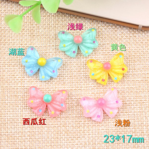 23*17mm Bobbi bow tie DIY resin bowknot charm accessories handmade card sets children's hair ornament rubber band material