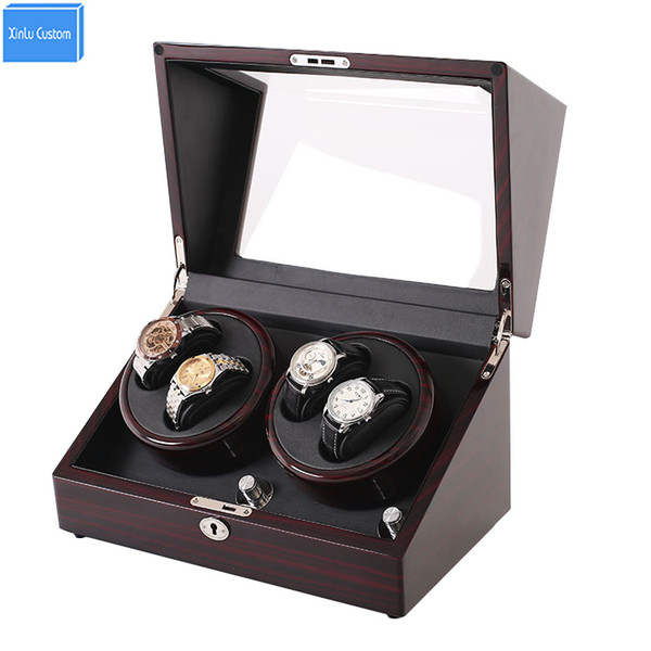 top popular Mahogany leather watch accessories box for automatic watch winder case lock rotator storage movement ratator boxes winders xinlu custom case 2021