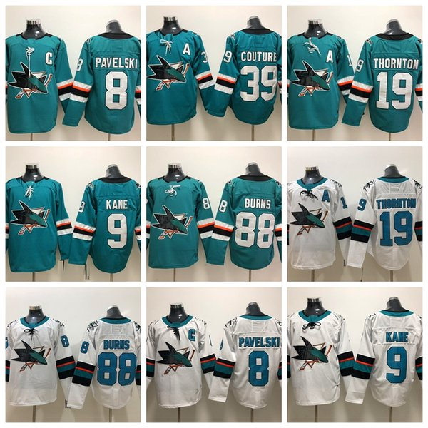 low priced 34cd1 1e73f 2019 2018 San Jose Sharks Hockey Jerseys 88 Brent Burns 8 Joe Pavelski 19  Joe Thornton 39 Logan Couture 9 Evander Kane Teal Jerseys From Tryones, ...