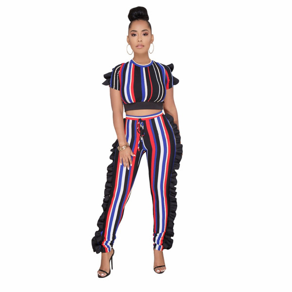 Summer Tracksuit Fashion Sexy Women Set Rainbow Striped Print Two pieces Jumpsuits Suits Casual Nightclub Party Tracksuits