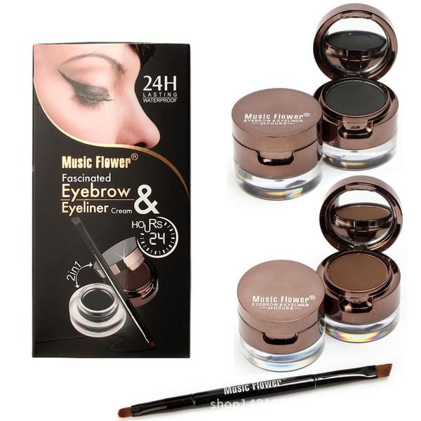 Musique Fleur Marque 2 En 1 Gel Eyeliner Sourcils Poudre Maquillage Palette Étanche Noir Brun Naturel Eye Liner Cosmétiques Ensemble