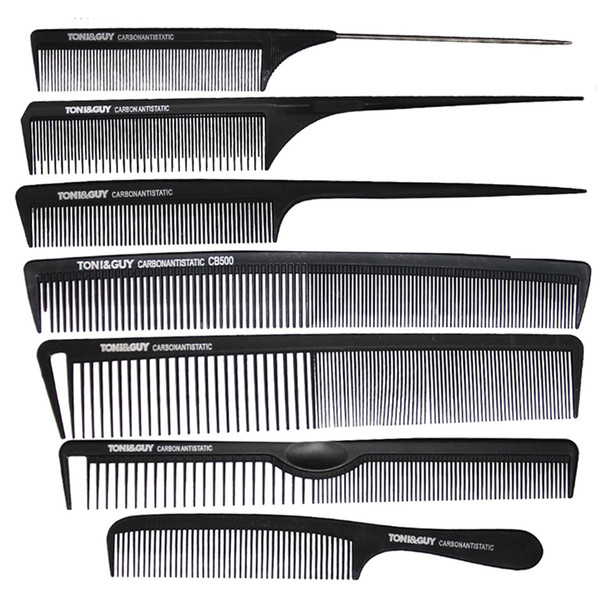 7 Pcs/ set Brand Hairdressing Comb In Black Color,Carbon Haircut Comb Antistatic And Heat-resistant,Tail TG-96 For Salon