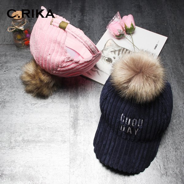 fashion Fur Pompom warm Winter Hats For Women Solid Color Stripe Corduroy Baseball Cap With Pom Poms Ball Female Cap Casquette