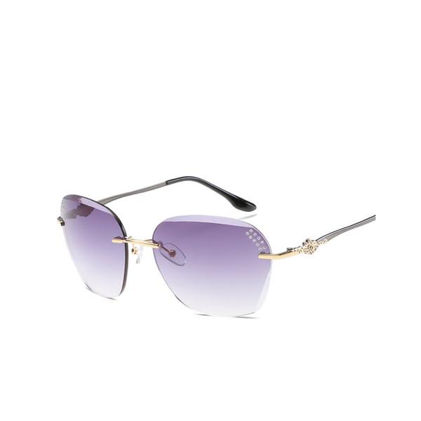Women Summer HD Sunglasses Gradient Color Eyewear UV400 Protection Frameless Eyeglasses