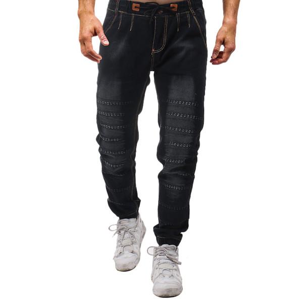 Mens moda feminina calças masculinas estiramento casual vintage lavagem elástica dissuasionada jeans slim calças jeans 2018 nova moda outono