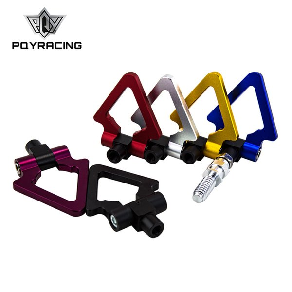 PQY RACING - Billet Aluminum Tow Hook Front Rear Alu CNC Triangle Ring Tow Towing Hook For BMW European Car PQY009