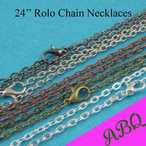 Tüm sale24 inç Rolo zinciri Neecklace, 60 cm Metal kolye Zincirleri-Gümüş, Bronz, Bakır, Antik Gümüş, Tunç, Siyah