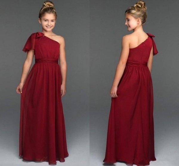 2018 주니어 신부 들러리 드레스 한 어깨 지퍼 뒤로 꽃 소녀 드레스 결혼식 긴 쉬폰 파티 드레스