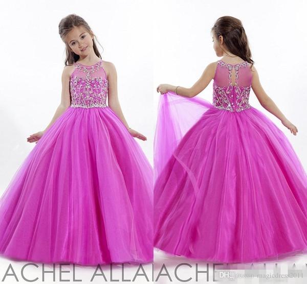 Princess Wedding Toddler Fuschia 2019 Pageant Ball Gowns Flower Girl Dresses Formal Long Cheap For Little Girls Dress Crystals Girl's Cheap