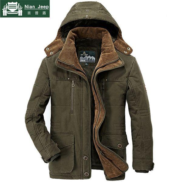 AFS JEEP Marca Parka da uomo invernale Plus Size 5XL 6XL Giacca da uomo in cotone militare Multi-Pocket Parka Hombre Invierno