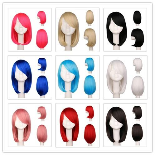 Women Girls Bob Straight Cosplay Wig Costume Party Black White BLue Red Pink 40 Cm Synthetic Hair Wigs