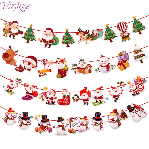 FENGRISE Christmas 2018 Banner Wall Hangings Christmas Ornaments Pendant Xmas Ornaments Merry Decorations for Home