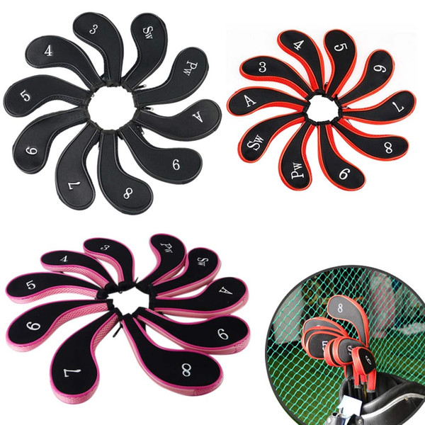 Ao ar livre 10 pçs / set Zippered Clube De Golfe Iron Putter Headcovers Zipper Tampas de Cabeça de Clube de Golfe Protetor Conjunto de Neoprene preto / vermelho / rosa