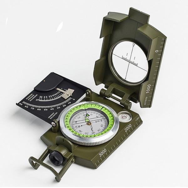 Novo Profissional Exército Militar Do Metal Observação Compass Clinômetro Escala de Acampamento Nível de Espírito Night Vision Magnifier