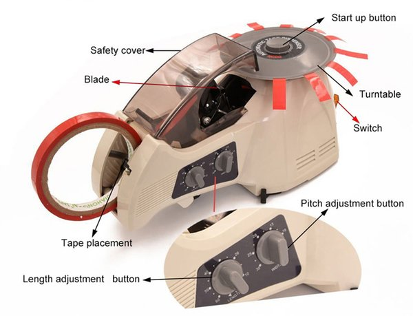 top popular KNOKOO Electric Tape Dispenser RT-3000 Carousel Automatic Packing Tape Cutter Machine for 3~25mm width Masking Tape 2021