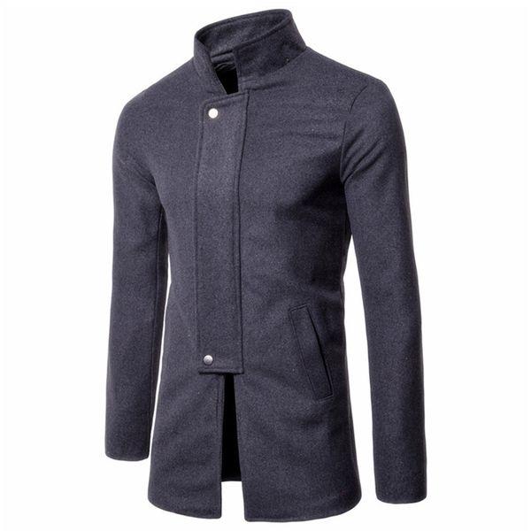 Men's Autumn Winter Coat Jackets Warm Wool Blends Vintage Solid Oversized High Quality Winter Mid Long Coat Mandarin Collar