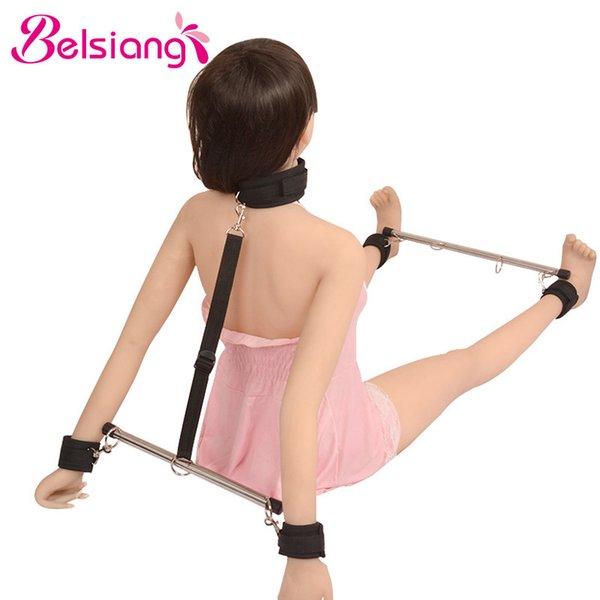 Belsiang Bdsm Bondage Adjustable Spreader Bar Restraint Bdsm Set for Women Slave Erotic Sex Toys for Couples Adult Sex Products Y1892003