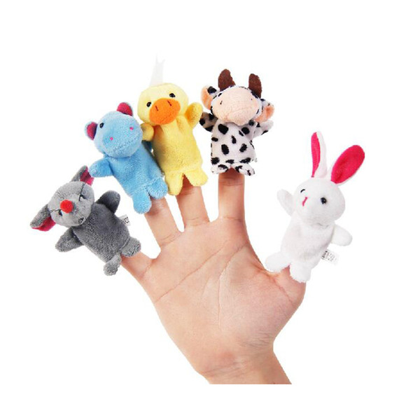 Hot Sale Cotton Baby Toy Cartoon Animal Finger Puppet Plush Dolls(10animals group)Child Baby Favor 10pcs/lot Free Shipping11-028