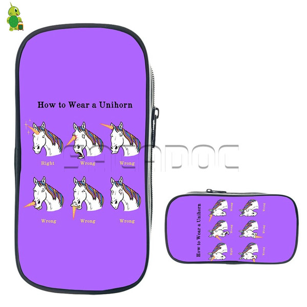 Funny Emotions Unicorn Cosmetic Cases Boys Girls Large Capacity Pencil Holder Kids Stationery Storage Bags School Supplies Gift