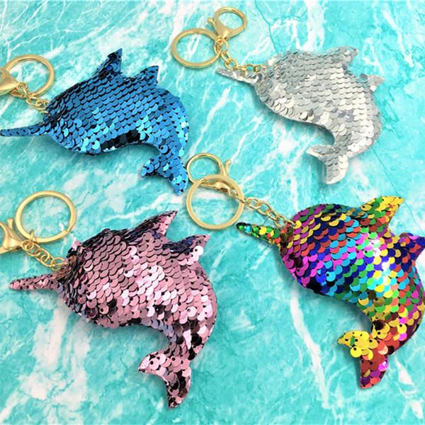 New Mermaid Druzy Drusy Key Rings Resinous Fish-scale Fish-tail Pendant Key Ring For Women Girl brithday T1C228