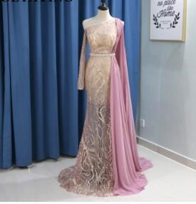 Evening Dress with Long Sleeve One Shoulder Cape One Shoulder Rose Gold Sequins Champagne Mermaid Prom Dresses 2018