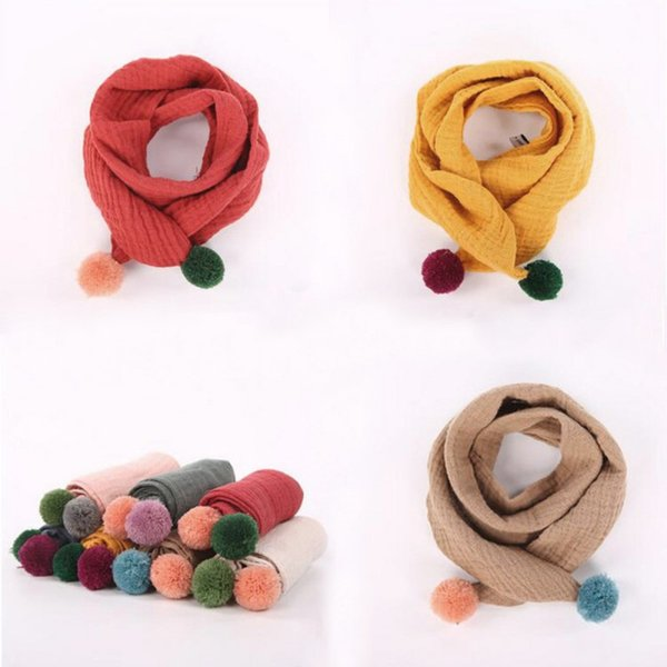 Knitting wool ball scarves Neck Warmer Knitting Scarf Winter Solid sex Children Cute Small Scarves Fur Pompom Ball Soft Long Color scarf