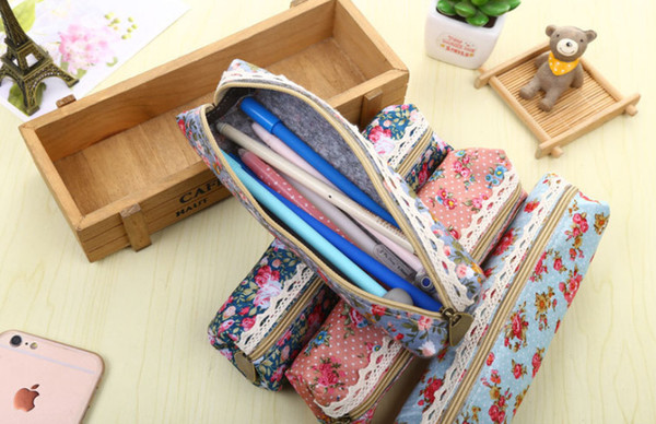 wholesale free shipping pencil case 50pcs\lot Forest wind elegant pencil bag broken flowers pencil bag small fresh stationery bag004