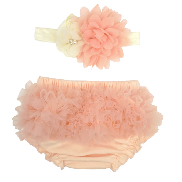 6 Colors Baby Girl Ruffle Bottom Chiffon Bloomer & Headband Set With Rhinestones for Newborn Photo Set Diaper Cover