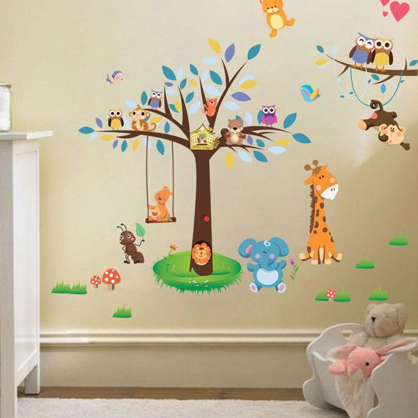 Colorful Birds Animal Wall Sticker Monkey Giraffe Removable Art Vinyl Mural Home Nursery Baby Kids Bedroom Decor