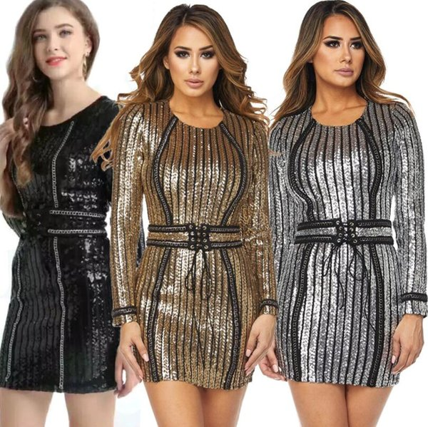 2018 Women's Gold Sexy O-neck Long Sleeve Sequin Belt Rope Dress High-quality Mini Dresses 3 Colors Plus Size XXL