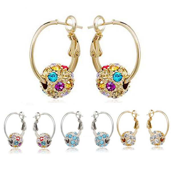 18K Gold Silver Plated Swarovski Crystal Hoop Earrings for Women Ladies Wedding Jewelry Clip On Dangle Earrings Diamond Drop Earrings