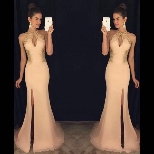 Sexy Halter Mermaid Prom Dresses Long With Gold Appliques Side Split Keyhole Neck Formal Evening Party Dresses Custom Made SP366