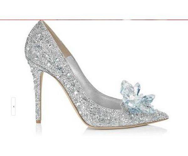 Acheter Classique Cendrillon En Verre Sandales De Mariage De Cristal Chaussures De Mariée À Talons Mince Haut Pointu Toe Pompes Strass Sweet Femmes