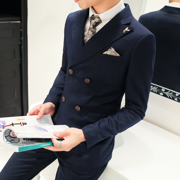 Male slim solid color double breasted blazer suit 3 pieces set Groom Wedding Suits For Men Dress Suit Dinner Party Prom Suits