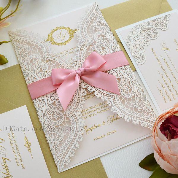 Acheter Faire Part De Mariage Découpé Au Laser En Dentelle Chantilly Rose Pâle Et Blanc Avec Un Nœud Ruban Rose Et Pivoine à Lencre Dorée De 129 Du