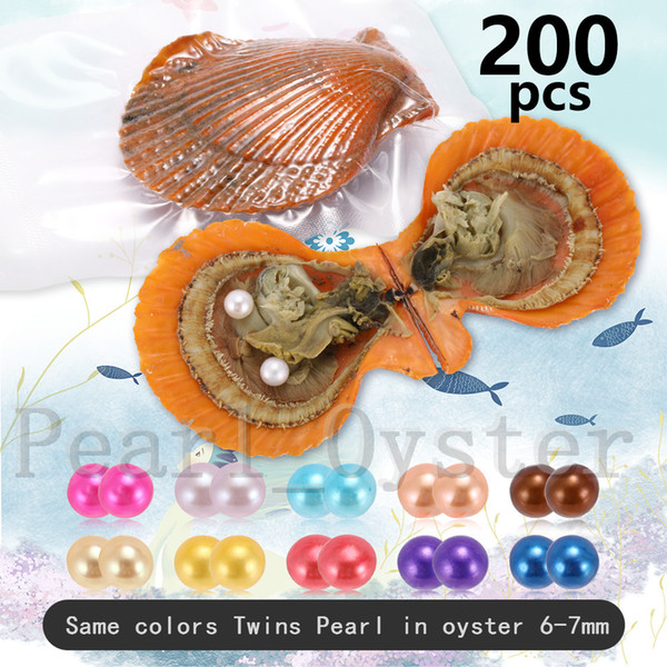 200PCS 6-7mm Mix 30 Colors Twins Pearls Same Colors In Scallops Oyster Individual Vacuum Package Round Akoya Pearl Shell Fedex Free Shipping