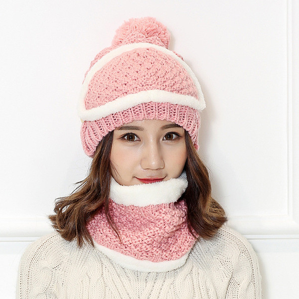 New ladies winter thick warm bib mask cap set wild rider earwear knitting