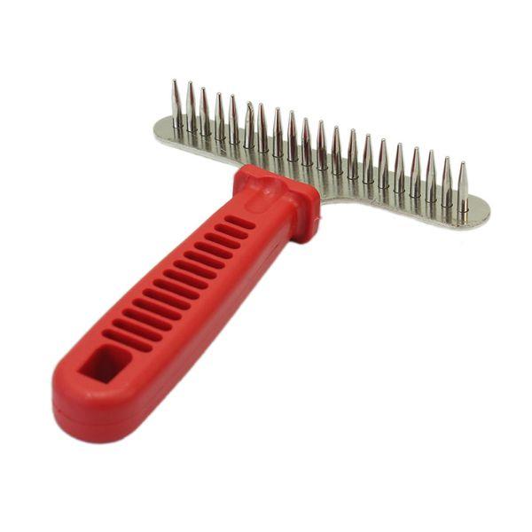 Pet Dog Cat Professioanl Long Hair Rake Design Anti-static Brush Grooming Comb Plastic Handle