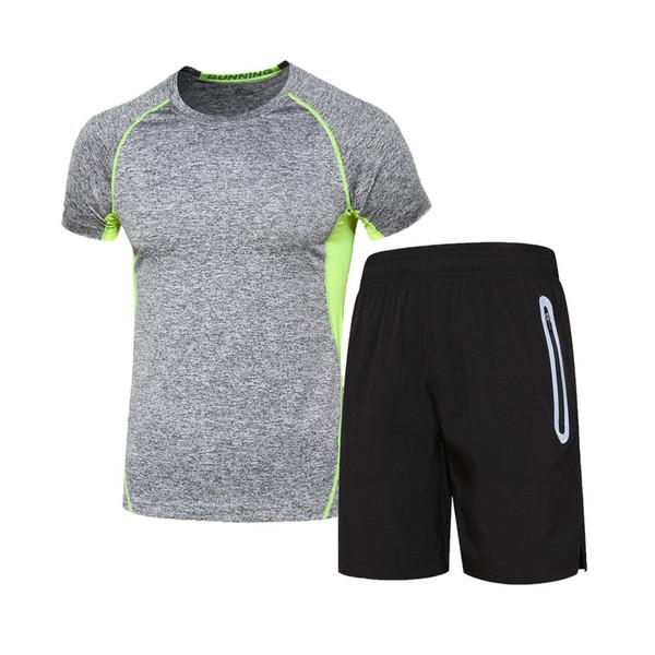 Ternos dos esportes dos homens de fitness em execução roupas de jogging terno calças justas de secagem rápida de manga curta conjuntos de treinamento para homens survetement homme