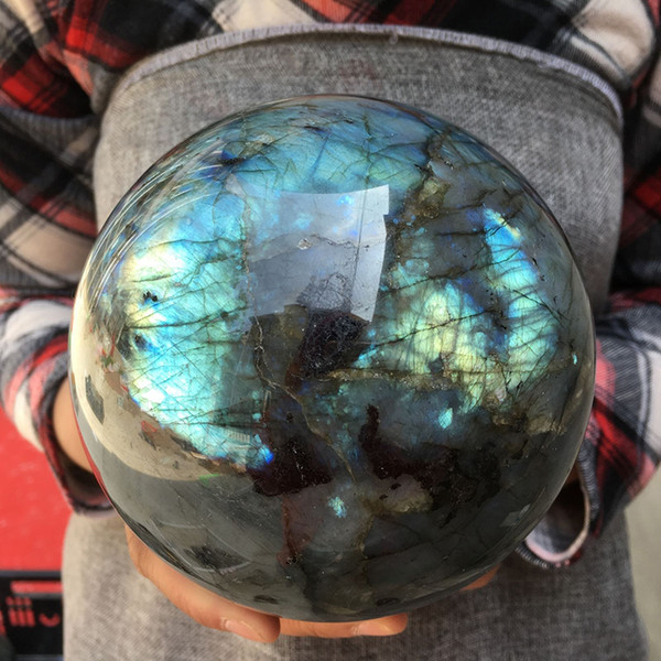 large size High Quality Natural Labradorite Quartz Crystal Sphere Ball Healing Madagascar for Home Decorations Free shipping