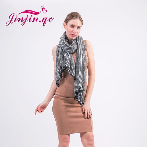 Wholesale- [Jinjin.QC] Brand linen Spring Scarf Men Tassel Bufandas Cachecol Striped Wrinkled Cotton Scarves bandana echarpe foulard femme