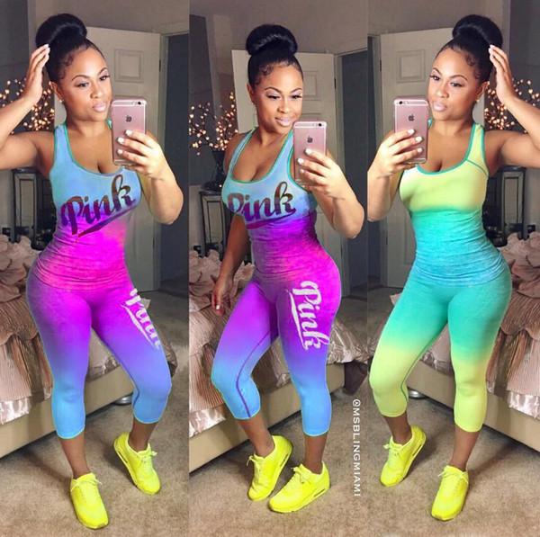 Pink Letter Printed 2PCS Tracksuit Gradient Vest+ Point Pant Lights Leggings Summer Sportswear 3 Color Jogging Suit