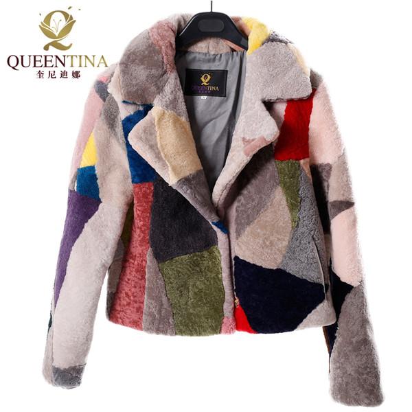 Noble Genuine Fur Sheepskin Coats for Women Winter Fashion Wool Coat Female Patchwork Colors Warm Outwear Sheep Shearing Jacket C18110301