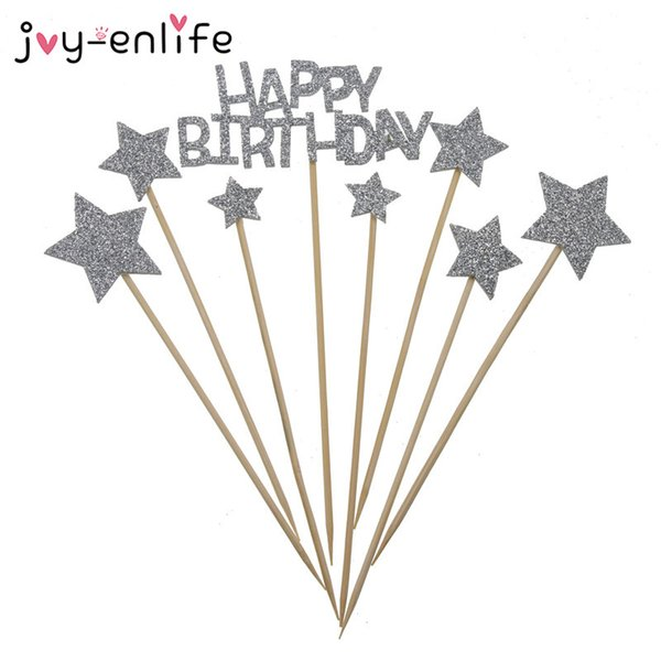 JOY-ENLIFE 1set Sparkling Happy Birthday Cupcake Topper Baby Shower Cake Baking Party Decor Child Birthday Party Supplies