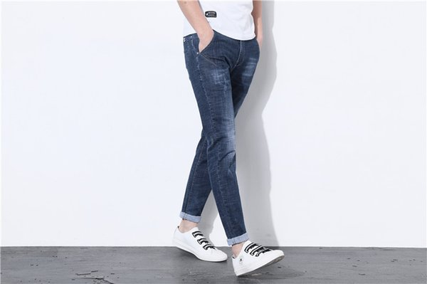 Spring and autumn stretch feet jeans men scratched simple fashion slim youth black Korean men's denim trousers