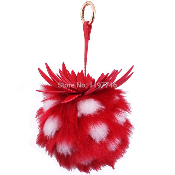 Pineapple Fruit Ball Keychain Cute Key Chain big 15CM Rabbit Fur Ball Pro Plush Key Ring Holder Women Bag Charm Car Keyring
