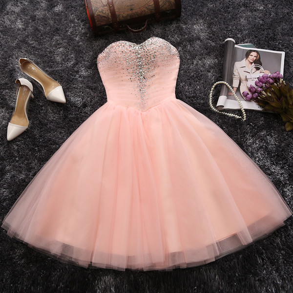 Pink Homecoming Dresses Short Party Dresses Pleats Tulle Ball Gown Prom Dresses Shining Sequins Beads Lace-up Back Black Prom Dress Cheap