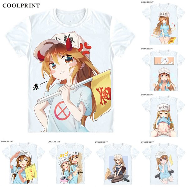COOLPRINT Cells at Work! Hataraku Saibo T-Shirts Short Sleeve Shirts Anime Manga Lolita THE PLATELETS CUTE Kesshoban Cosplay Shirt
